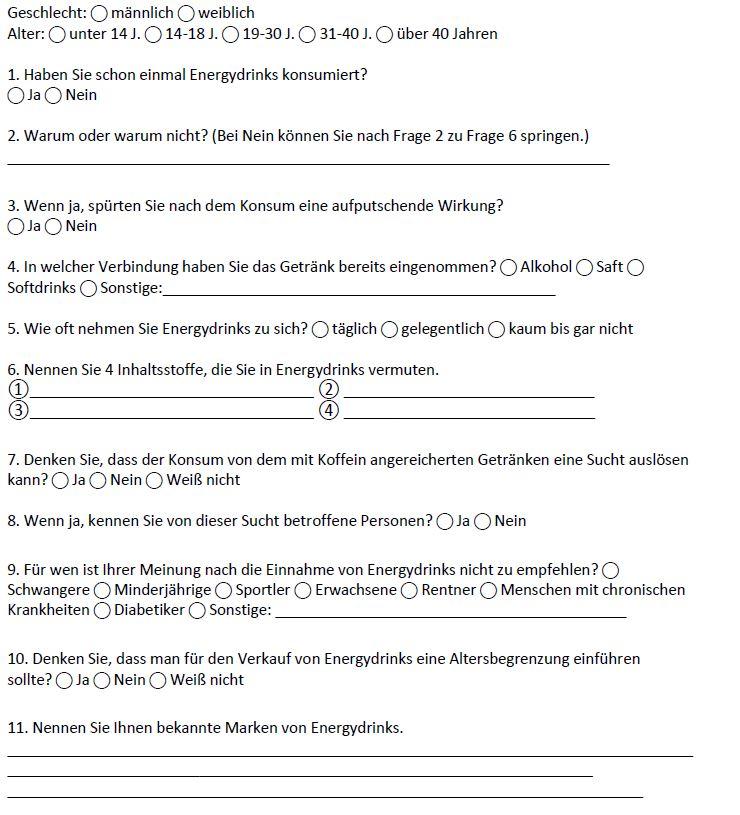 Probandenbogen der Umfrage