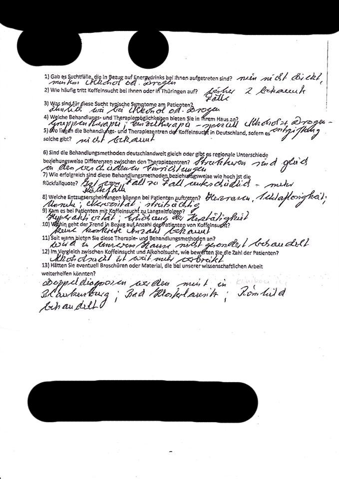 Beantworteter Fragebogen an Fachkrankenhaus Hildburghausen